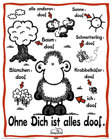 sheepworld ohne dich ist alles doof mini poster mini posters online kaufen. Black Bedroom Furniture Sets. Home Design Ideas